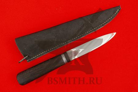 Нож бытовой, дуб обожженный, с обмоткой, с ножнами