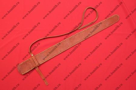 Ножны кожаные одноручные с тиснением, коричневые, фото 1