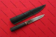 Нож бытовой пакетный, дуб обожженный, обмотка, с ножнами