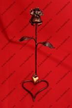 Кованая роза с сердцем, роза под медь, сердце под золото, фото 1