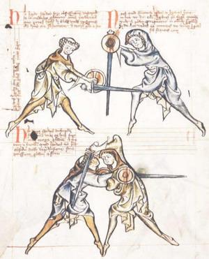 Манускрипт MS I 33, датированный приблизительно 1290г, показывает фехтование с боевым мечом и баклером.