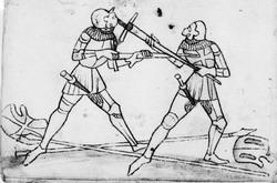 """Фехтование на полуторных мечах в пластинчатых доспехах, Codex Wallerstein. Справа - техника """"mordhau"""" - удержание меча наоборот"""