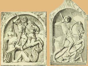 Надгробные плиты римских всадников, похороненных в Германии: вспомогательный отряд, надгробная плита в Майнце; знаменосец турмы, надгробная плита в Вормсах.