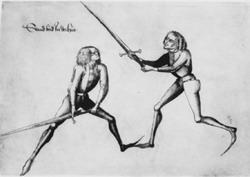 Фехтование на полуторных мечах без доспехов. Иллюстрация из руководства Hans Talhoffer`а 1467г.